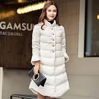 2016 зимняя одежда новый большой-имя европейские товары мода тонкий плюс толстый сплошной цвет Дополнительный за колена длинные вниз куртка женщин