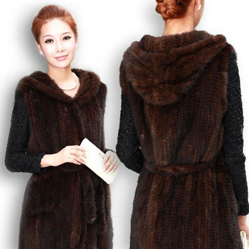 продажа меха новые норковые вязаные пальто меховой жилет с капюшоном