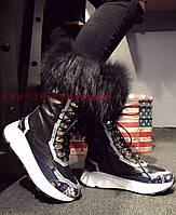 Европы 2016 зимние кожаные толстым дном capensis волос в бочку шнуровка снегоступы женская обувь теплые хлопка обувь прилив сапоги, фото 1