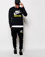 Мужской чёрный спортивный костюм Nike цветное лого