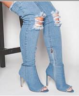 Силла правителей женская обувь рыбы рот сандалии прохладный сапоги супер высокий каблук девочек отверстие обувь дефиле джинсовая, фото 1