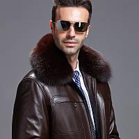 Куртка мужская зимняя кожаная, подкладка из меха, меховой воротник