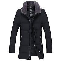 Куртка пуховик мужская удлиненная зимняя меховой воротник овчина , фото 1