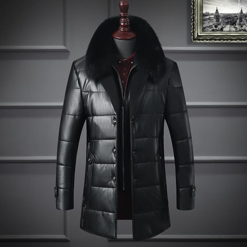 6c0706212baf Куртка мужская удлиненная кожаная зимняя с меховым воротником очень теплая  стеганая - Интернет-магазин