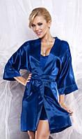 Атласный комплект халат и пижама синий