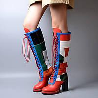Сапоги женские на шнуровке осень-зима разноцветные, выше колен, на каблуке 2 цвета