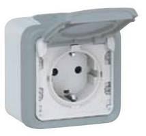 Розетка с заземлением и крышкой, Plexo, IP55, IK07 серый