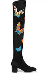 Чоботи замшеві, ботфорти, візерунок метелик, вище колін