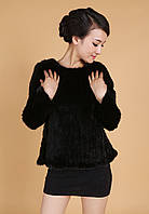 Новый женщин осень зимние пальто меха импортной норки трикотажные пальто мода короткий параграф круглый шеи пуловер пальто