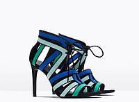 Туфли женские на высоком каблуке, открытый носок и пятка, римский стиль
