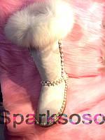 Уггі чоботи жіночі з шкіри, прикрашені перлами, високі, фото 1