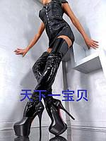 Сапоги женские высокие до бедра, черные, каблук 16 см