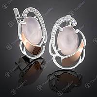 Серебряные серьги с кварцем и фианитами. Артикул С-314