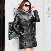 2016 зима новый haining кожа вниз куртка леди длинный участок толще корейской версии Фокс меха воротник пальто кожаная одежда