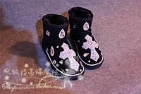 Угги женские осень-зима, вышивка стразами, фото 1