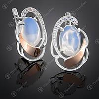 Серебряные серьги с лунным камнем и фианитами. Артикул С-314
