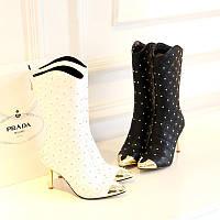 Сапоги кожаные женские на удобном каблуке шпильке 2 цвета