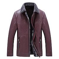 Куртка кожзам мужская зимняя с меховой подкладкой большие размеры баталы, фото 1