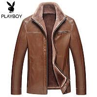 Плейбой плюс толстый высокая-конец среднего возраста мужская кожаная куртка Мужская одежда бизнес случайный стенд воротник теплый искусственного