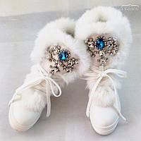 Ботинки женские зимние с мехом 2 цвета и 9 расцветок цветов камней, фото 1