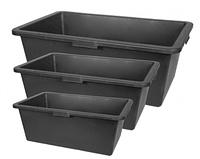 ТАЗЫ СТРОИТЕЛЬНЫЕ 25 литров прямоугольные конусные 600х400х200 чёрные
