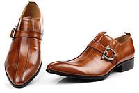 Туфли казаки мужские кожаные с пряжкой весна-осень 4 цвета