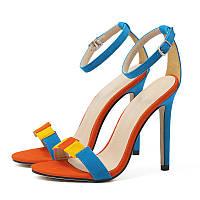 Сандалии женские на высоком каблуке с застежкой, фото 1