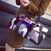 Меховая цветная женская сумка с норки волос красочные  цвета , фото 1