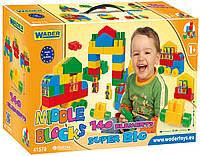 """Детский конструктор Wader """"Middle Blocks Супер большой на 140 элементов""""."""