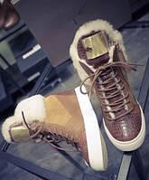 Ботинки женские, сникерсы, высота каблука 8см, с металлической цепью, фото 1