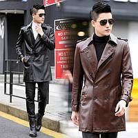 Мужская куртка-плащ кожзам длинная осенняя 2 цв, фото 1