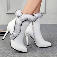Ботинки женские зимние элегантные на высоком каблуке, кожа, мех кролика опушка 3 цвета