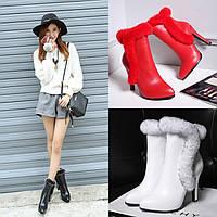 Ботинки женские зимние элегантные на высоком каблуке, кожа, мех кролика 3 цвета опушка 3 цвета, фото 1