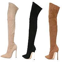 Сапоги ботфорты женские, высокий каблук , острый носок, сексуальные высокие 3 цвета