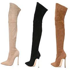 Чоботи жіночі ботфорти, високий каблук , гострий носок, високі сексуальні 3 кольори