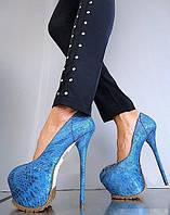 Женские туфли синие ультра высокие на платформе каблук 16 см водонепроницаемые