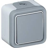 Переключатель 1-клавишный, Plexo, IP55, IK07, серый