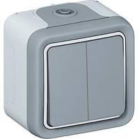 Переключатель 2-клавишный, Plexo, IP55, IK07, серый