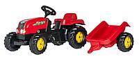 Детский трактор с прицепом Rolly Toys Kid красный (012121), педальный трактор + прицеп