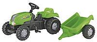 Детский педальный трактор с прицепом Rolly Toys Kid зеленый (012169)