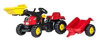 Детский трактор с прицепом и ковшом Rolly Toys красный (023127), педальный трактор + прицеп + ковш
