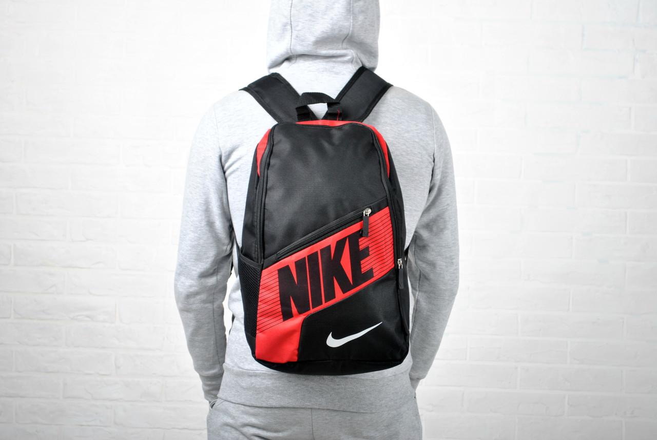 Рюкзак женский/мужской спортивный на каждый день найк (Nike) черный с красным