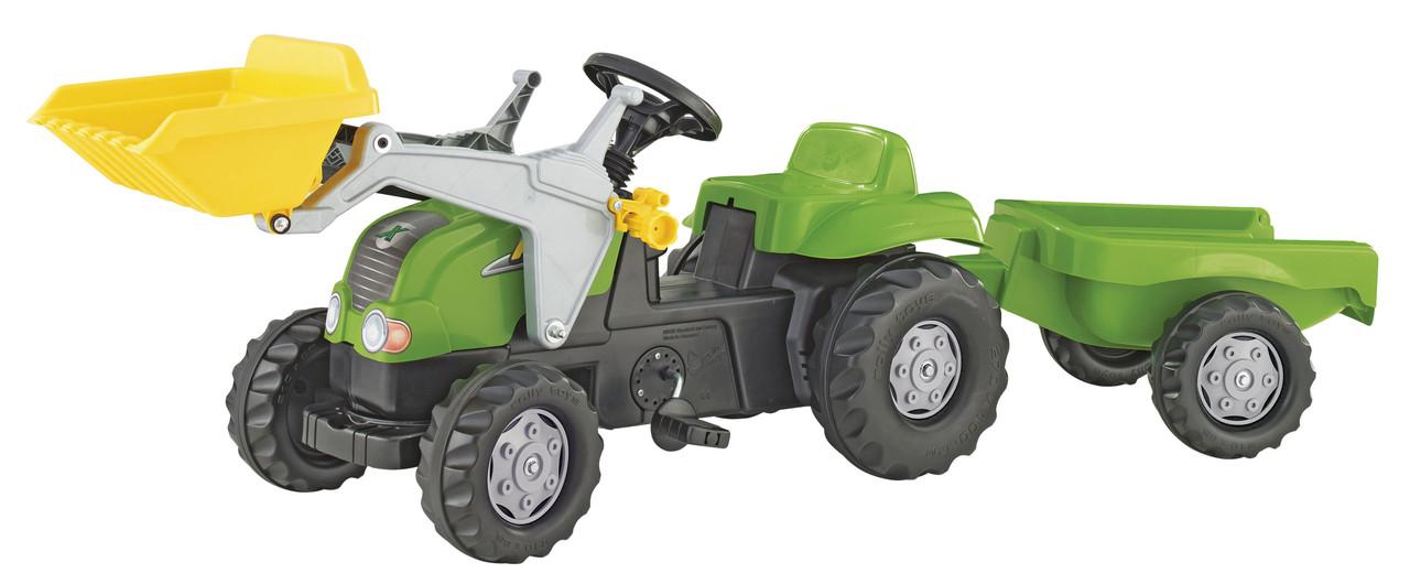 Детский педальный трактор с прицепом и ковшом Rolly Toys зеленый (023134)