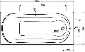 KOLO COMFORT ванна прямоугольная 180*80 см, с ножками, фото 2