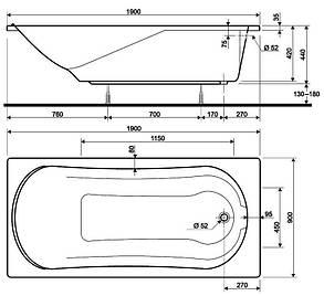 KOLO COMFORT ванна прямоугольная 190*90 см, с ножками, фото 2