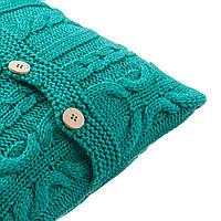 Подушка декоративная Ohaina на пуговицах вязаная в косы 40х40  цвет изумруд