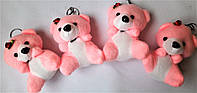 Брелок на ключи  мягкая игрушка мишка розовый с розочкой