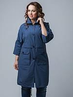Куртка-плащ большого размера на пуговицах с накладными карманами