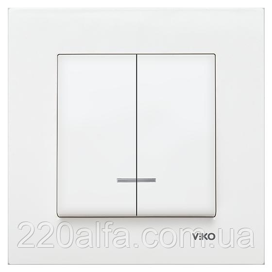 Выключатель 2-х клавишный с подсветкой Viko KARRE