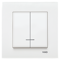 Выключатель 2-х клавишный с подсветкой Viko KARRE.